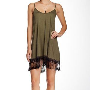 Olive Crocheted Black Lace Trim Tank Dress
